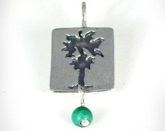Sterling Silver Palm Tree Charm, Charm Necklace, Malachite Bead, California Palm Tree, Jewelry By Naomi