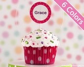 Personalized Polka Dot Mini Cupcake Christmas Ornaments