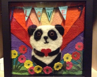 """Felted wool Panda """"LOVE"""" Shadow Box with flowers and heart  -- PSB2"""