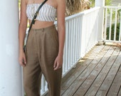 High Waisted Taupe Linen Pant by finity for Saks Fifth Avenue