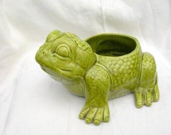 Vintage Jenkin Ceramics Green Frog Planter Pacolma California
