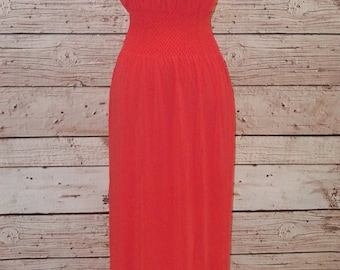 Coral Strapless Maxi Dress- Free Shipping to USA only - Summer Dress