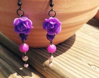 Purple Rose Earringd