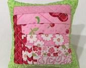 Handmade Quarter Log Cabin Pincushion pink red green