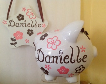Personalized Large Pink/Brown flowers Piggy Bank  and Room Sign Newborns , Birthday,Girls,Flower Girl,Baby Shower Gift Centerpiece
