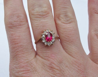 Reserved for Jaznmoe Vintage 9ct Gold Red Stone Dress Ring