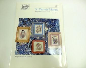 St. Dennis Mimes Cross Stitch or Needlepoint Pattern Booklet Needlework