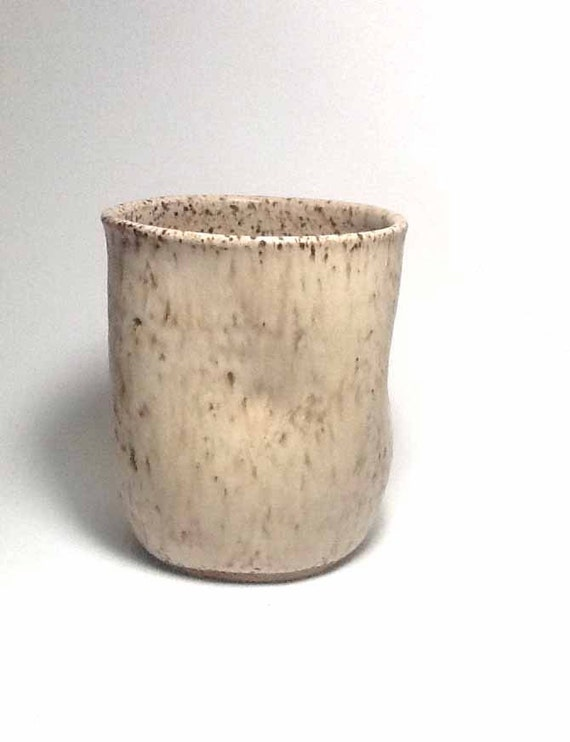 Handmade stoneware cup rustic ceramic cup yellow cup - Handleless coffee mugs ...