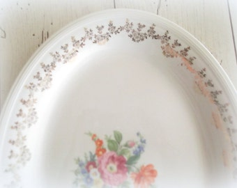 Vintage Platter White And Gold Wedding Centerpiece Edwin M. Knowles China Shabby Cottage