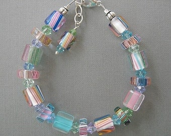 Pastel Furnace Glass Beaded Bracelet with Swarovski Austrian Crysal Accents