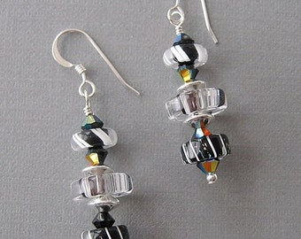 Mini Slice Black and White Dangle Earrings with Furnace Glass, Art Glass, Cane Glass and Swarovski Austrian crystal