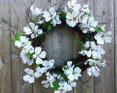White Dogwood Wreath , curly twig wreath base.