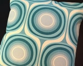 Aqua Circles Pillow Cover - Blue Mondo Pattern by Chris Stone - Boho - Rare Fabric, Out-of-Print - Many Sizes Available