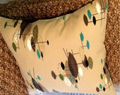 "Mid Century Modern Pillow Cover - Vintage Barkcloth - Space Age Jetsons - 17"" x 17"""