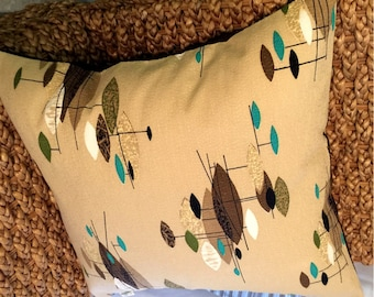 Mid Century Modern Pillow Cover - Vintage Barkcloth - Taupe and Turquoise Jetsons -  Choose your size