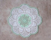 Mint Green Lace Crochet Pineapple Doily, French Cottage Decor, Elegant, Soft Pastels
