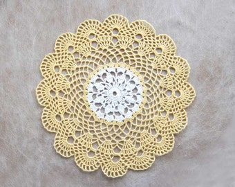 Scallop Shell Crochet Lace Doily, New Coastal Cottage Home Decor, Yellow and White