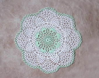 Pineapple Doily, Crochet Lace, Mint Green Decor, White, Cottage Chic Table Accessory, New, Original Design