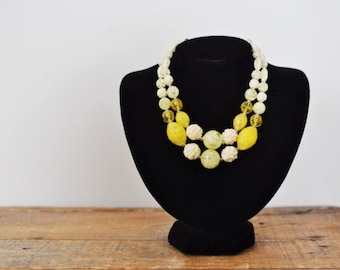 Vintage Lemon Yellow Double Strand Beaded Necklace W Germany