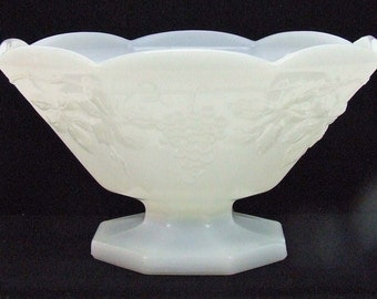 Vintage Retro Cottage Chic Milk Glass Pedestal Fruit Bowl Grape Pattern Scalloped Edge ATCTTEAM