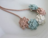Moroccan soutache flower necklace, duck egg blue pale pink and cream