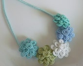 Moroccan soutache flower necklace, art silk, soft blues and green, summer necklace