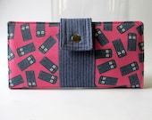 Handmade womens pink wallet clutch Doctor Who small blue Tardis - bifold - ID clear pocket - blue herringbone - Ready to ship - Gift for her