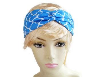 Blue Tile Turban Headband, Blue Twisted Headband, Persian Tile Headband, Sky Blue Headband, Blue Turban Twist Headband