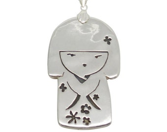 Japanese Doll Pendant Necklace (Sterling Silver)