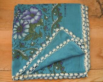 blue cotton scarf with crochet trim, turkish headscarf