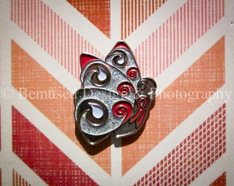 Sale - Lot of 5 Swirlie Butterfly Red Ribbon Lapel Pins with Glitter