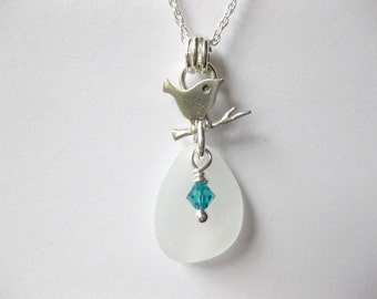 Bird Jewelry Bird necklace Sterling Silver Sea Glass Necklace And Bird - Beach Glass Jewelry Handmade, Custom Jewelry