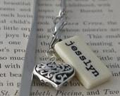 Custom Name Bookmark Mini Domino with silver-tone charm by Kristin Victoria Designs