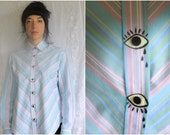 Eye / Oggle / Hand-Painted on a Pastel Striped Blouse