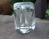Scandinavian Modernist Erik Höglund Ice Glass Face Sculpture for Boda pre Kosta Boda