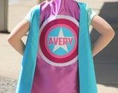 SUPERHERO CAPE - Girls PERSONALIZED Hero Cape - Super Star Cape - Full Name Customized Girl Gift