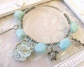 Aqua Cuff Bracelet - Personalized Bangle Bracelet - Beachy Bangle Bracelet - Aqua Beachy Bangle - Gemstone Bangle
