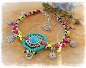 MANDALA Charm ANKLE Bracelet Turquoise Hot Pink NEON beaded Anklet Tribal Native Boho foot jewelry Spiral charm bare feet resort spa GPyoga