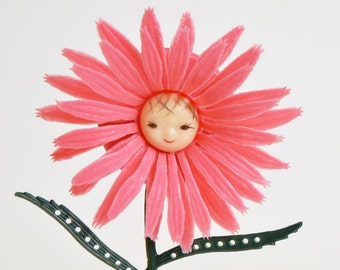 Vintage 60s Pink Daisy Flower Earring Jewelry Stand