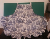 Reserved for Maria, Navy and White Toile ruffled Kitchen Apron, Mitt, Pot Holder and, Dish Towels