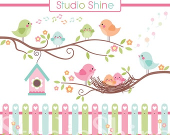 Digital Clipart, The Best Nest, Cute Birds Clip Art, PNG Files Vector EPS Instant Download Clipart Personal and Commercial Use
