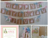 Peter Rabbit 1st Birthday  Supreme Package Beatrix  Potter bunny  Easter 1st birthday party decorations baby shower birthday