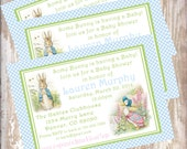 Peter Rabbit Baby Shower Invitations Beatrix  Potter bunny  Easter 1st birthday party decorations baby shower birthday