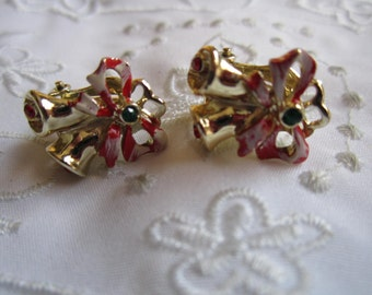 Vintage Christmas Bell and Ribbon and Bow Clip On Earrings with Rhinestones