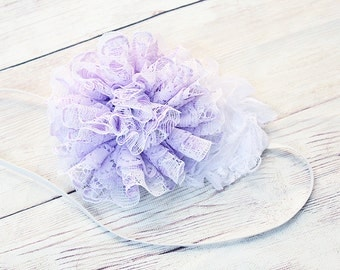 Lavender Laces- white and lavender chiffon and lace bloom headband