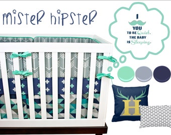 Arrow Crib Bedding, Boy Nursery Bedding Baby Crib Set, Navy, Mint, Turquoise, Gray Arrows, Tribal, Triangles, Antlers, Moustache