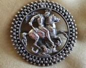 Victorian Brooch St. George Slaying Dragon Silverplate Hallmarked