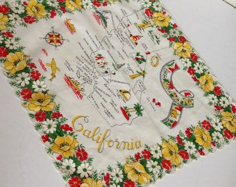 Vintage Tourist California Map Hankie Handkerchief Yellow Poppies Souvenir