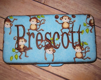 Personalized Travel Baby Wipe Case - Blue Brown Monkeys