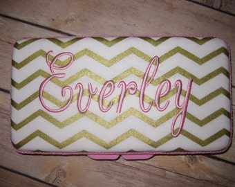 Personalized Travel Baby Wipe Case- Gold White Chevron Pink Accents